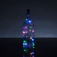 Solar Powered 15 Multi-Color LED Cork Wine Bottle Lamp Fairy String Light Stopper, 5FT (1pc)