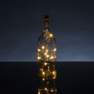 Solar Powered 15 Warm White LED Cork Wine Bottle Lamp Fairy String Light Stopper, 5FT (1pc)