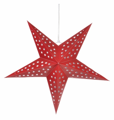 "24"" Solid Red Cut-Out Paper Star Lantern, Hanging Decoration"