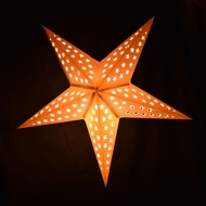 "24"" Solid White Stars Cut-Out Paper Star Lantern, Hanging Decoration"
