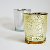 Spade Votive Tea Light Glass Candle Holder - Gold (2.5 Inches) (6 PACK)