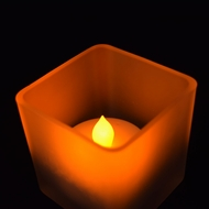 Square Tea Light Flameless LED Candle in Frosted Glass Votive w/ Blow/Shake Function (Warm White)