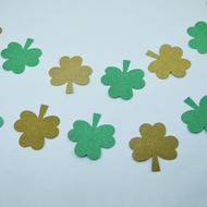 St. Patrick's Day Glitter Gold and Green Shamrock Garland Banner (9.5FT)