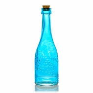 Stella Turquoise Vintage Glass Bottle Glassware Flower Vase