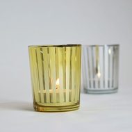 Stripe Votive Tea Light Glass Candle Holder - Gold (2.5 Inches) (6 PACK)