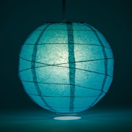 "10"" Teal Green Round Paper Lantern, Crisscross Ribbing, Hanging Decoration"