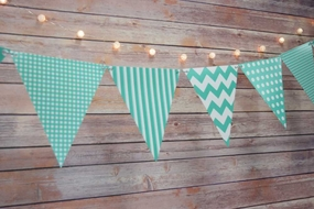 Teal Green Mix Pattern Triangle Flag Pennant Banner Decoration (11FT)