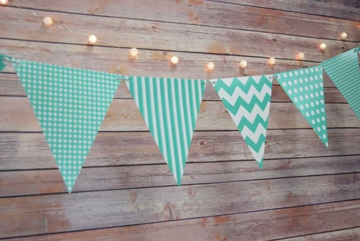 Teal Mix Pattern Triangle Flag Pennant Banner Decoration (11FT)