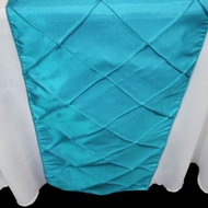 Turquoise Pintuck Chameleon Table Runner - 12 x 108 Inch