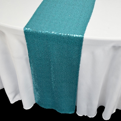 Turquoise Sequin Table Runner   12 X 108 Inch