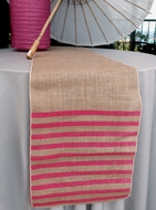 Vintage Burlap Table Runner w/ Fuchsia / Hot Pink Striped Pattern (12 x 108)