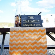 Vintage Burlap Table Runner w/ Orange Chevron Pattern (12 x 108)