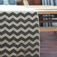 Vintage Burlap Table Runner w/ Black Chevron Pattern (12 x 108)