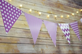 Violet / Orchid Mix Pattern Triangle Flag Pennant Banner Decoration (11FT)