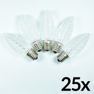 Replacement Warm White 5 LED C9 Faceted Christmas Light Bulbs, E17 Base (25 PACK)