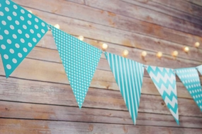 BLOWOUT Water Blue Mix Pattern Triangle Flag Pennant Banner Decoration (11FT)