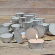 BULK PACK (50) Wax Tea Light Candles in Bulk, Unscented Standard
