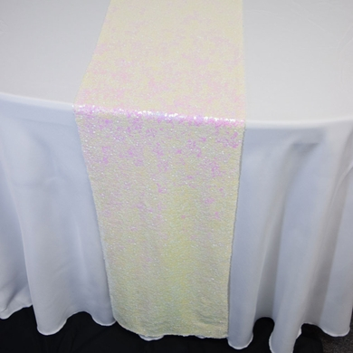 White and Pink Iridescent Sequin Table Runner - 12 x 108 Inch