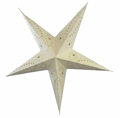 """24"""" White Embroidery Paper Star Lantern, Hanging Decoration"""