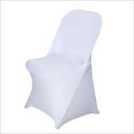 White Form Fitting Stretch Fabric Full Chair Cover