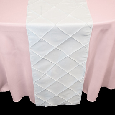 White Pintuck Chameleon Table Runner - 12 x 108 Inch