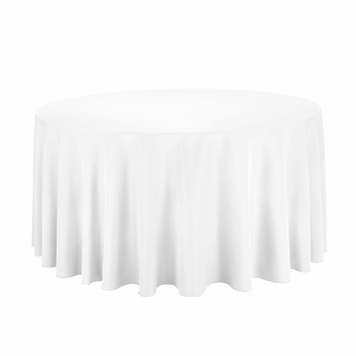 White Round Table Cloth Cover   120 Inch