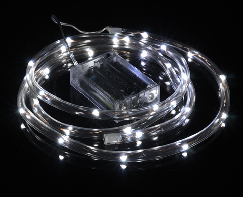 30 cool white fairy led battery powered waterproof string rope light 30 led cool white waterproof string rope light 6 ft clear submersible tube battery operated aloadofball Gallery
