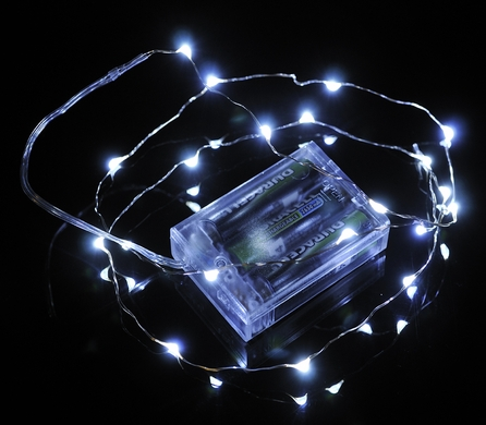 20 White LED Micro Fairy String Lights, Wire (6ft, Battery Operated)