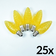 Replacement Yellow 5 LED C9 Faceted Christmas Light Bulbs, E17 Base (25 PACK)
