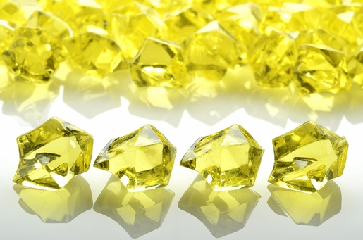 Yellow Gemstones Acrylic Crystal Wedding Table Scatter Confetti Vase Filler (3/4 lb Bag)