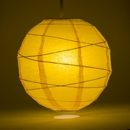 Yellow Crisscross Ribbing Paper Lanterns