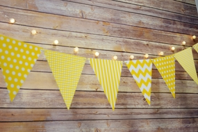Yellow Mix Pattern Triangle Flag Pennant Banner Decoration (11FT)