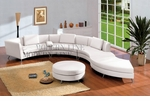 2-in-1 Contemporary Furniture Design White Leather Sectional Sofa (Optional Ottoman and Multi-function Table)
