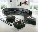 2-in-1 Modern Furniture Black Sectional Sofa  (Optional Ottoman and Multi-function Table)