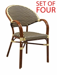 All-Weather Bamboo Style Modern Outdoor Chair with Arms (STACKING)  [SET OF FOUR]
