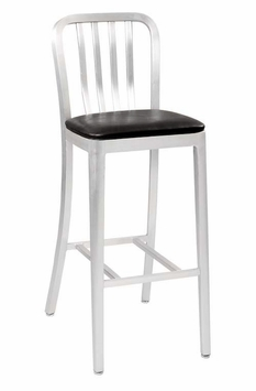 All-Weather Brushed Aluminum Restaurant Bar Stool with Soft Seating (Commercial Grade)