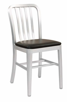 All-Weather Brushed Aluminum Restaurant Chair with Black Seating (Commercial Grade)