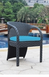 All Weather Collection Contemporary Black OR White Rattan Dining Chair with a Weather-Resistant Cushion
