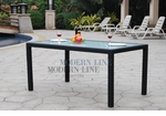 All Weather Collection Contemporary Black OR White Rattan Dining Table
