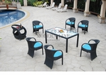 All Weather Collection Contemporary Black OR White Rattan Dining Table with Six Dining Chairs with Weather-Resistant Cushions