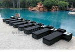 All-Weather Collection Water-Resistant Black Rattan Set of Eight Loungers and Nine Coffee Tables  with Black Pillows and Cushions
