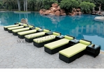 All-Weather Collection Water-Resistant Black Rattan Set of Eight Loungers and Nine Coffee Tables  with Green Pillows and Cushions