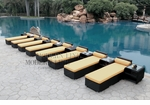 All-Weather Collection Water-Resistant Black Rattan Set of Eight Loungers and Nine Coffee Tables  with Yellow Pillows and Cushions