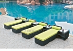 All-Weather Collection Water-Resistant Black Rattan Set of Four Loungers and Five Coffee Tables with Green Pillows and Cushions