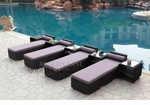 All-Weather Collection Water-Resistant Black Rattan Set of Four Loungers and Five Coffee Tables with Grey Pillows and Cushions