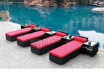 All-Weather Collection Water-Resistant Black Rattan Set of Four Loungers and Five Coffee Tables with Red Pillows and Cushions