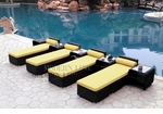 All-Weather Collection Water-Resistant Black Rattan Set of Four Loungers and Five Coffee Tables with Yellow Pillows and Cushions