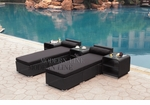 All-Weather Collection Water-Resistant Black Rattan Set of Two Loungers and Three Coffee Tables  with Black Pillows and Cushions