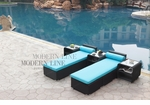 All-Weather Collection Water-Resistant Black Rattan Set of Two Loungers and Three Coffee Tables  with Blue Pillows and Cushions