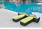 All-Weather Collection Water-Resistant Black Rattan Set of Two Loungers and Three Coffee Tables  with Green Pillows and Cushions